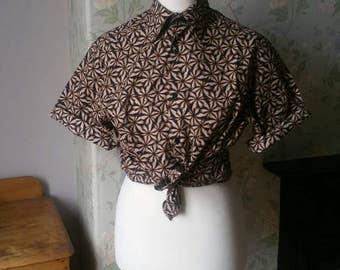 Unisex vintage Hawaiian shirt medium black beige brown shirts collar short sleeves gromrtric foliage Dolly Topsy Etsy UK