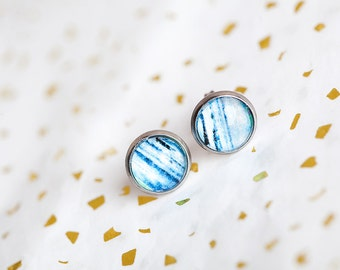 Ocean Water Earrings, Blue, Water Earrings, Blue Earrings, Ocean Stud Earrings, Stud Earrings, Ocean Studs, Blue Studs, Water Studs