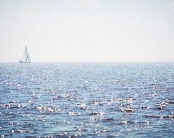 Sailboat Photography Print Fine Art Florida Punta Gorda Gulf Coast Tropical Blue Ocean Waves Southern Landscape Photography Print.