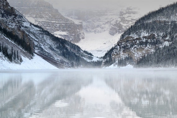Lake Louise Photography Print 12x18 Fine Art Banff Canada Mountain Gray Fog Snow Wilderness Rustic Winter Landscape Photography Print.