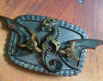 Steampunk Goth Dragon Belt Buckle