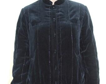 Vintage Black Velvet Bomber with Silver Pinstripes