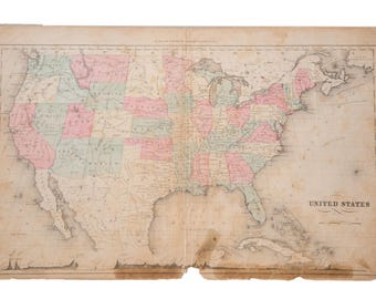 RESERVED Antique Rand McNally USA Map