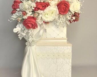 Coral Ivory Lace Wedding Card Holder Wedding Money Box Wedding Card Box Elegant Unique Two Tier Custom Card Box Handmade Wedding Gift Box