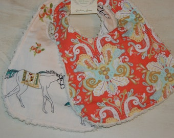Baby Bibs Set of 2 Cotton Chenille Bibs Baby Shower Gift Damask Boho Horse Coral Mint