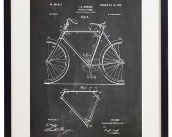Set of 6 Prints Bicycle Bike Parts Patent Vintage Home Decor Wall Art Print