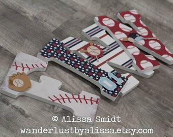 Baseball Nursery Letters, Custom Wooden Letters - Sports Theme Letters, 9 Inch Hanging (baseball, bat, glove, red white and blue)