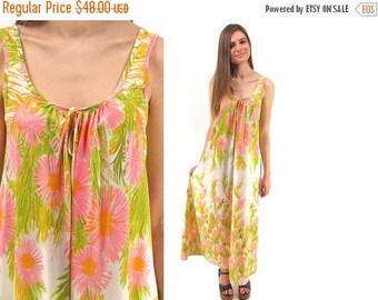 On Sale - Vintage 70s Floral Slip Dress, Boho, Hippie, Maxi Lingerie Dress ΔΔ xs / sm