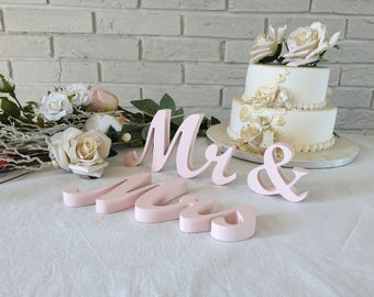 Mr and mrs wooden letters in BLUSH (we call it PALE PINK) wedding table decoration signs, photo prop Mrs and Mr,  Mr and Mr or Mrs and Mrs