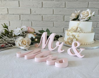 Rose gold wedding, blush wedding signs Mr&Mrs. Wood signs  Mr Mrs wedding signs for TOP TABLE, pink, rose gold, pale pink, blush