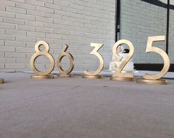 Wedding table numbers, GOLD table numbers, Gold table numbers, wedding table decoration