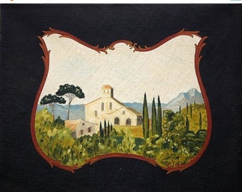 ON SALE for a week Unique original distressed oil painting provencal village