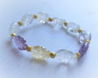Beautiful  natural carved Citrine, Amethyst, Quatrz, gold filled stardust beads stretchable stackable bracelet