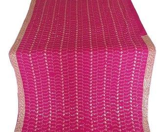 10% OFF on Bridal magenta sari  used Sari, Dress Making, Fabric, Sarong, Drape, Embroidered Sari in soft gold