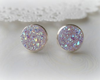 Silver and Pale Pink Faux Druzy Stud Earrings