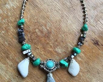 Beach Stones Plus Turquoise Necklace