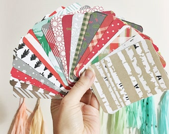 2 Dozen Hand Cut Christmas Holiday Themed Journaling Cards Project Life Inspired Cards Single Sided Pack of 24 Patterned Cards