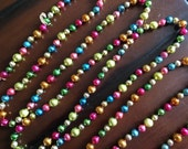"Vintage Pastel Multicolor Mercury Glass Christmas Garland - 108"" long Multicolor Mercury Glass Feather Tree Garland Big 1/2"" and 5/8"" Beads"