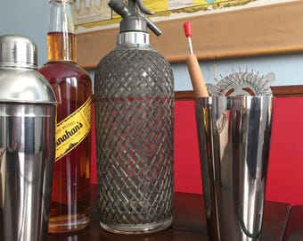 Vintage Sparklet's New York Glass and Metal Mesh Covered Seltzer Bottle Vintage Glam Retro Bar