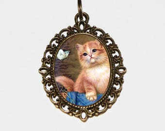 Kitten Necklace, Butterfly Jewelry, Bronze Oval Pendant, Animal, Gift For Cat Lover
