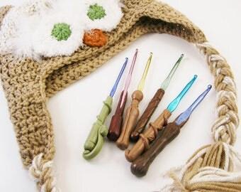Wizard Wand Crochet Hooks Set of 6 F-K - Polymer Clay Crochet Hooks