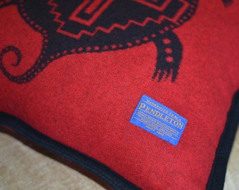 Pendleton® Pillow - Large 20x20 home decor rustic cabin decorative pillow - Red Native American Indian Turtle - Pendleton Wool Pillow