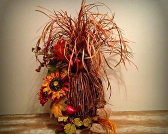 ON SALE Thanksgiving Handmade Floral Rustic Sunflower Silk Fall Floral Arrangement Feather Pumpkin Autumn Home Decor