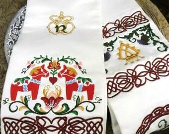 Embroidered Handfasting Cloth Swedish Scottish Wedding Dala Horses, Luckenbooth, Thistle, Celtic Love Heart Knots