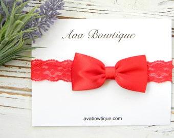 Red Bow Headband - Red Lace Headband - Red Satin Bow Headband - Christmas Bow Headband