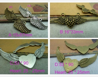 10pcs of Double hole Heart Wing Angel Charms  Connector, bracelet, necklace connection pendant