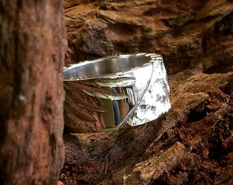 Mens Handmade 925 Sterling Silver Chunky Fallen Angel Ring with a Angel Wing carved into the Band
