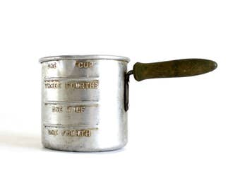Aluminum Measuring Cup with Wood Handle, One Cup, Antique Food Photography Prop