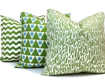 Schumacher Studio Bon Indoor Outdoor Green Grass Pillow Cover, Square Lumbar or Eurosham, Schumacher