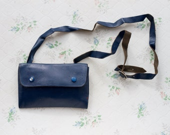 Fanny Pack Navy Blue Leather - Vintage Bum Bag - Belt Pouch Wallet - Hip Satchel I phone utility belt