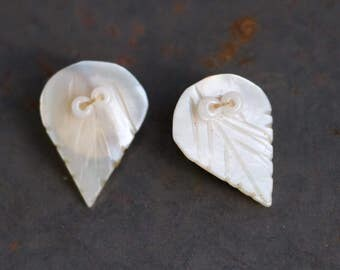 MOP Teardrop Earrings - Antique Mother of Pearl Brass Clip on Earrings