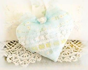 Heart Door Hanger 5 inch Heart Ornament, Soft Blue White Yellow, Cottage Style, Folk Art, Handmade CharlotteStyle Decorative Folk Art