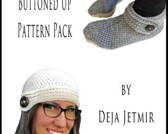 Crochet Pattern-- Women's Buttoned Up Pattern Pack --Crochet Pattern