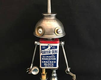 Radiator Man Bot - found object robot sculpture assemblage by Cheri Kudja with Bitti Bots