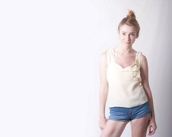 Woman Sleeveless Tank Top Bright Yellow Ivory