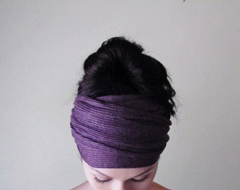 PURPLE Ear Warmer - Grape Hair Wrap - Heliotrope Ribbed Knit Head Scarf - Extra Wide Knit Headband - Bohemian Hair Accessories