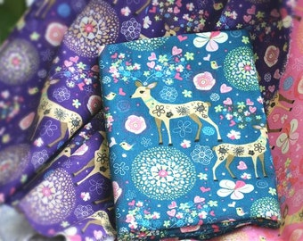 """59""""width colorful elk deer pink blue purple linen flax fabric by yard tablecloth curtain coaster decoration"""