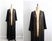 ON SALE // Vintage 70s Olga Nightgown Lace Black Robe/ Full Robe Slip/ Wedding Slip / Lace lingerie/ Bohemian Lace Robe
