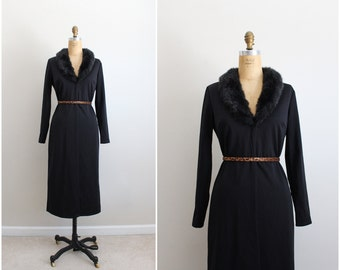 80s Black Fur Collar Maxi Cardigan /Faux Fur Collar Cardigan / Mod long Cardigan / Size S/M
