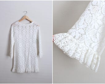 60's White Crocheted Dress / Bohemian Dress /Sheer White floral Dress /Lace Dress / Cover Up / Size XS/S