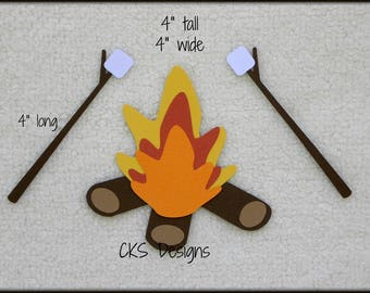 Die Cut Roasting Marshmallows Camp Fire Premade Paper Piecing Embellishment for Card Making Scrapbook or Paper Crafts