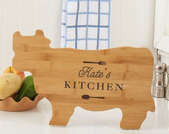 Engraved Any Message Cow Shaped Cutting Board, carving board, engraved, kitchen decor, family name, personalized -gfyL10998190Cow