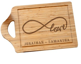 Engraved Love Infinity Cutting Board, carving board, engraved cutting board, wedding gift, kitchen, bamboo, customized -gfyL10038169