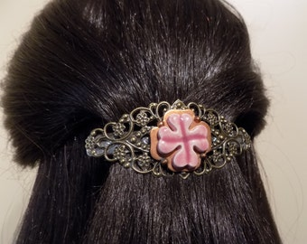 Small  Barrette/ womens gift/ four leaf clover clip