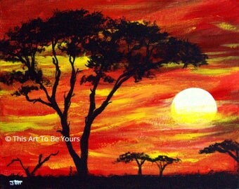 "SERENGETI  SUNSET original acrylic painting on 8"" x 10"" canvas board. Red African sunset, canvas art, African art, wall decor, home decor"