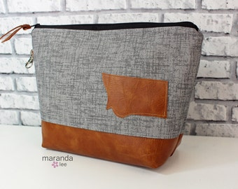 AVA Clutch -Large - Grey Denim with Montana Patch with PU Leather READY to SHIp Cosmetic Wallet Makeup Diapers